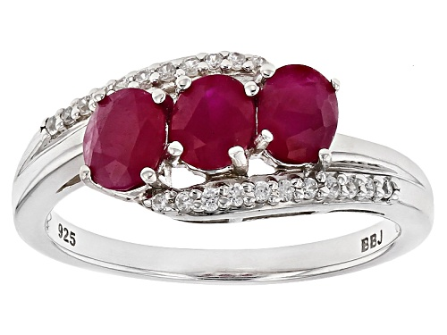 Photo of 1.14ctw Oval Burmese Ruby With .12ctw Round White Zircon Sterling Silver 3-stone Bypass Ring - Size 11