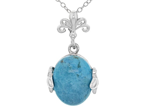 Photo of 14x10mm Oval Cabochon Blue Turquoise Sterling Silver Pendant With Chain