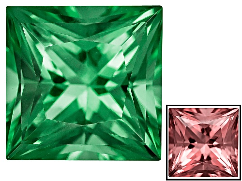 Photo of Zandrite ®  Color Change Green To Pink Avg 2.25ct 8x8mm Princess Cut