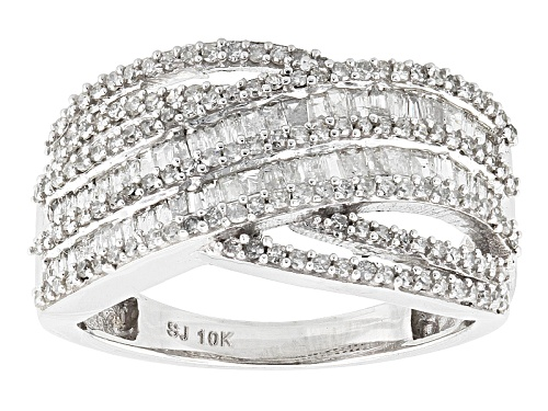 Photo of .90ctw Round And Baguette White Diamond 10k White Gold  Ring - Size 8