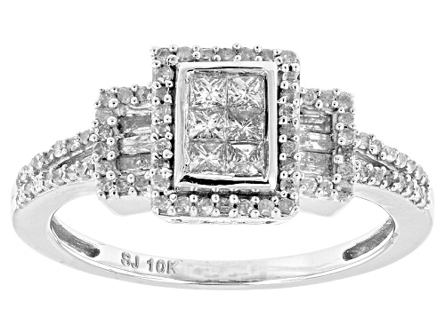 Photo of .50ctw Round, Baguette And Princess Cut White Diamond 10k White Gold Ring - Size 7