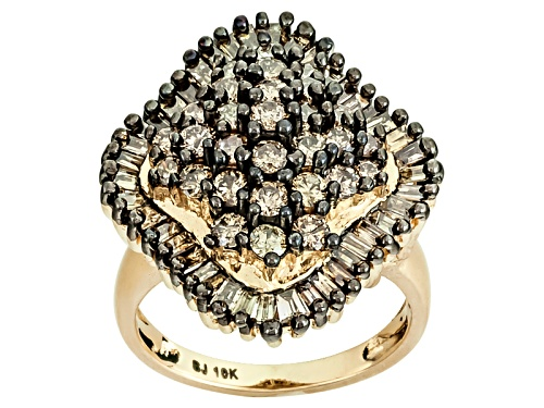 Photo of 2.50ctw Round And Baguette Champagne Diamond 10k Yellow Gold Ring - Size 7