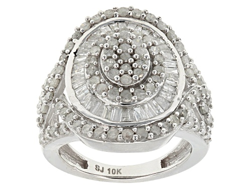 Photo of 1.85ctw Round And Baguette White Diamond 10k White Gold Ring - Size 7