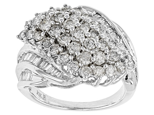 Photo of 2.00ctw Round And Baguette White Diamond 10k White Gold Ring - Size 5