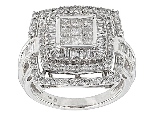 Photo of 1.50ctw Round, Baguette And Princess Cut White Diamond 10k White Gold Ring - Size 7