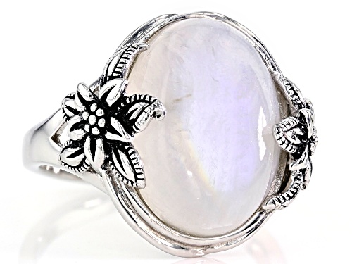16x12mm Oval Rainbow Moonstone Solitaire  Rhodium Over Sterling Silver Floral Detail Ring - Size 7
