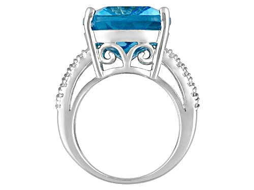Glacier Topaz ™ 16.75ct Rectangular Cushion Sterling Silver Solitaire Ring - Size 5