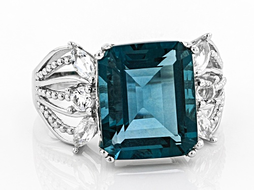 5.95ct Emerald Cut Teal Fluorite and .48ctw White Topaz Rhodium Over Sterling Silver Ring - Size 8