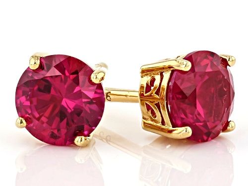 2.04ctw Round Lab Created Ruby 18k Gold Over Silver Stud Earrings