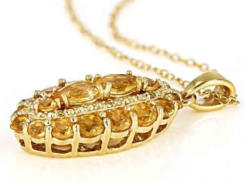 2.12ctw Mixed Brazilian Citrine & .02ctw Yellow Diamond Accent 18k Gold Over Silver Pendant W/Chain
