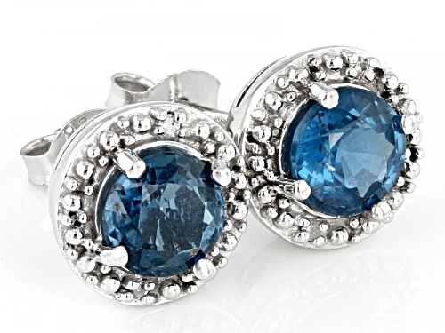 1.70ctw Teal Chromium Kyanite With .01ctw White Four Diamond Accent Rhodium Over Silver Earrings