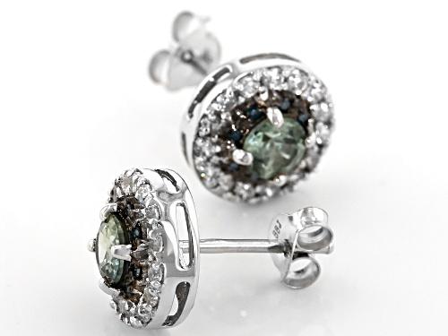 .76ctw Blue Sapphire, .53ctw White Zircon & .05ctw Blue Diamond Accents Rhodium Over Silver Earrings