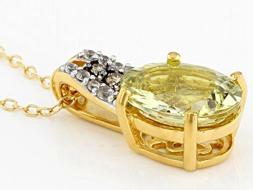 3.23ctw yellow apatite, white zircon & .04ctw 2 diamond accent 18k gold over silver pendant w/chain