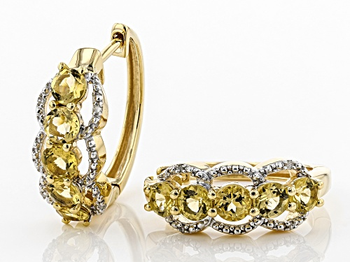 1.70ctw Yellow Beryl with .03ctw White Diamond Accent 18k Gold Over Silver 5-Stone Hoop Earrings