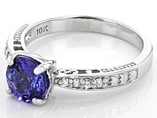 1.15ct Round Tanzanite With 0.08ctw Round Lab-Grown Diamond Rhodium Over 10k White Gold Ring - Size 8