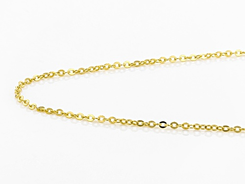 14k Yellow Gold 1.10mm Designer Flat Rolo 18 inch Chain Necklace - Size 18