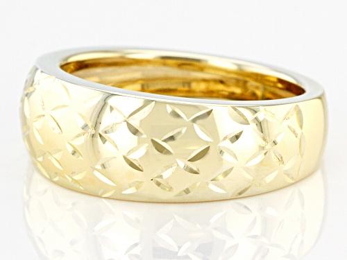 10k Yellow Gold Diamond Cut Wide Band Ring - Size 7