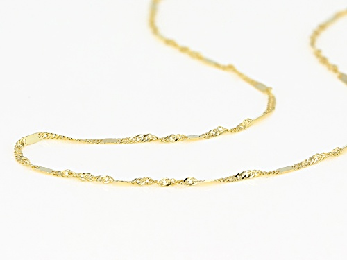 10K Yellow Gold 1.4MM Singapore Bar 18 Inch Necklace - Size 18