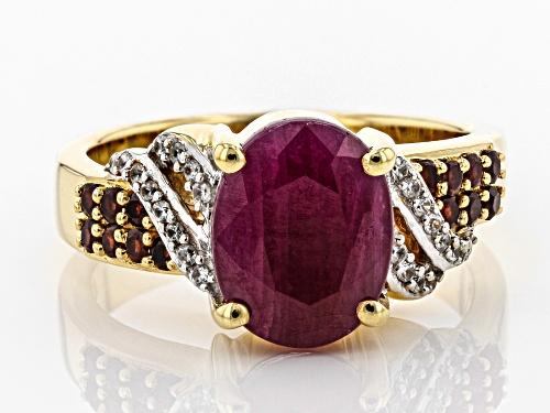 3.45ct Indian Ruby w/ .15ctw White Zircon & .28ctw Vermelho Garnet™ 18k Gold Over Silver Ring - Size 10