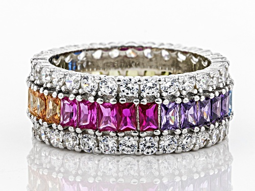 Bella Luce ® 7.95CTW Multicolor Gemstone Simulants Rhodium Over Sterling Silver Ring - Size 7