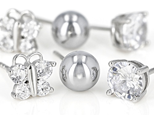 Bella Luce ® 3.25CTW Rhodium Over Silver Stud Earrings Set Of 3- Butterfly, Ball And Solitaire