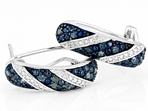 0.24ctw Round Blue Velvet Diamonds™ Rhodium Over Sterling Silver Earrings