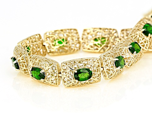 5.72ctw Oval Russian Chrome Diopside 10k Yellow Gold Filigree Bracelet - Size 7.25