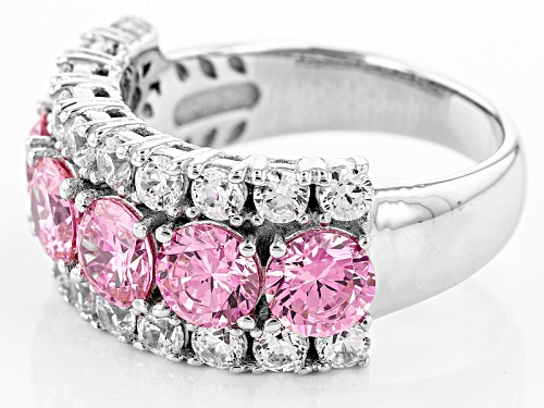 Bella Luce ® 6.74ctw Pink & White Diamond Simulant Rhodium Over Sterling Silver Ring (3.96ctw Dew) - Size 6