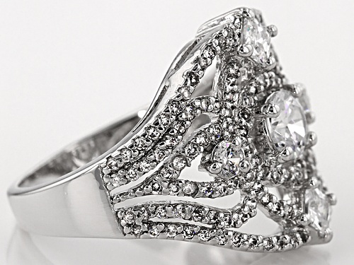Bella Luce ® 3.19ctw Diamond Simulant Rhodium Over Sterling Silver Ring (1.79ctw Dew) - Size 5