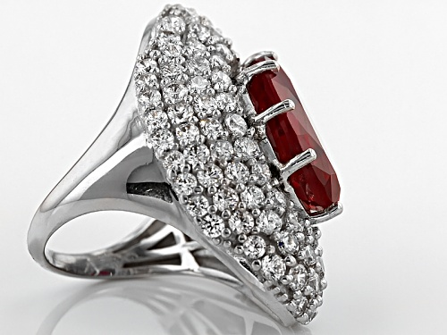 Bella Luce ® 12.66ctw Lab Created Ruby & Diamond Simulant Rhodium Over Sterling Silver Ring - Size 6