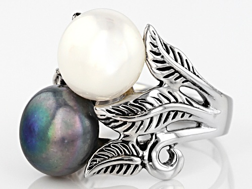 9mm White And Black Cultured Freshwater Pearl Rhodium Over Sterling Silver Leaf Design Ring - Size 8