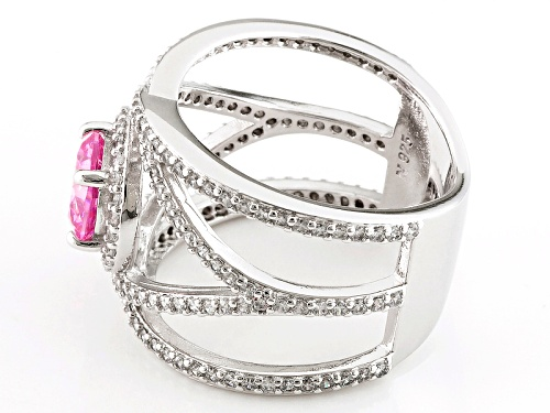 Bella Luce ® 3.77ctw Pink And White Diamond Simulants Rhodium Over Sterling Silver Ring - Size 7