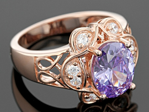 Bella Luce ® 4.79ctw Lavender And White Diamond Simulants Eterno ™ Rose Ring - Size 12