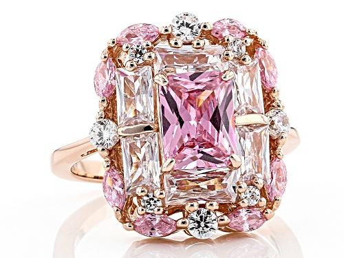 Bella Luce ® 6.87ctw Pink & White Diamond Simulants Eterno ™ Rose Ring (4.84ctw Dew) - Size 5