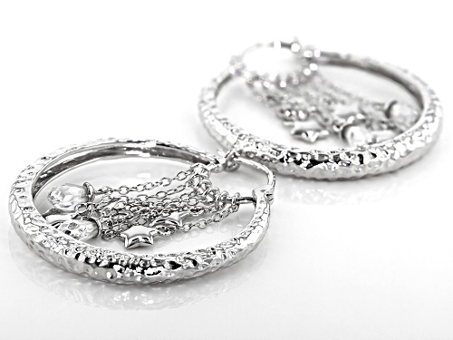 Bella Luce ® 2.40ctw Rhodium Over Sterling Silver Star Hoop Earrings (1.00ctw DEW)