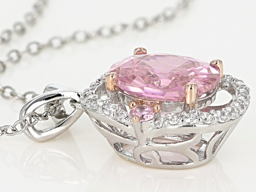 Bella Luce ® 4.98CTW Pink & White Diamond Simulants Rhodium Over Silver Pendant With Chain