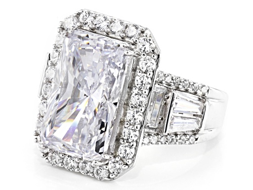 Bella Luce ® 14.38CTW White Diamond Simulant Rhodium Over Sterling Silver Ring - Size 7