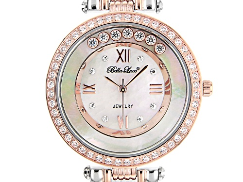 Bella Luce® Ladies 2.13ctw White Diamond Simulant Rhodium And Eterno™ Rose Over Brass Wrist Watch