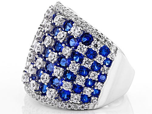 Bella Luce ® 6.14ctw Blue Sapphire And White Diamond Simulants Rhodium Over Sterling Silver Ring - Size 6