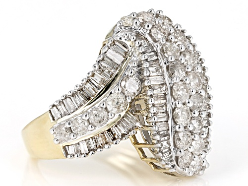 2.35ctw Round and Baguette White Diamond 10k Yellow Gold Ring - Size 6