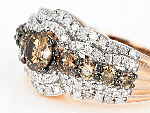 1.50ctw Round Champagne And White Diamond 10k Rose Gold Ring - Size 5