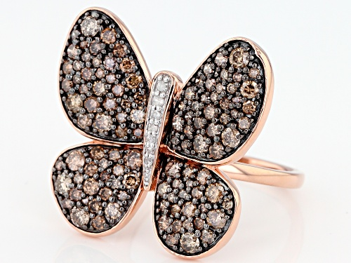 2.00ctw Round Champagne And White Diamond 10K Rose Gold Ring - Size 8