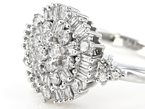 1.00ctw Round And Baguette White Diamond 10k White Gold Ring - Size 5