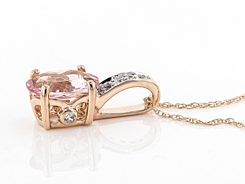 1.30ct Oval Cor-De-Rosa Morganite™ With .09ctw Round  Zircon 10k Rose Gold Pendant With Chain
