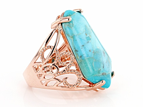 Timna Jewelry Collection™ 26X13mm Fancy Elongated Hexagonal Turquoise Solitaire Copper Ring - Size 7