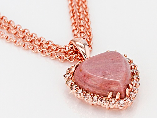 Timna Jewelry Collection™ Heart Shape Rhodonite and 1.32ctw White Zircon Copper Pendant With Chain