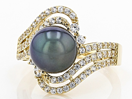 9.5-10mm Cultured Tahitian Pearl With .83ctw White Zircon 14k Yellow Gold Ring - Size 7