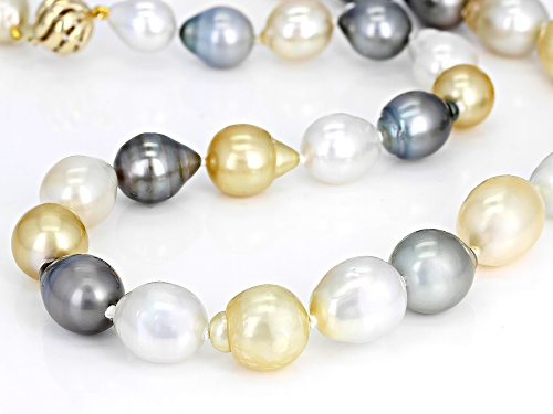 9-12mm Golden & White Cultured South Sea & Tahitian Pearl 14k Yellow Gold 18 Inch Necklace - Size 18