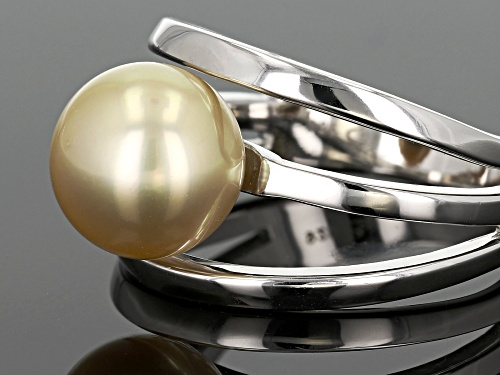 10mm Golden Cultured Burmese South Sea Pearl Rhodium Over Sterling Silver Solitaire Ring - Size 7
