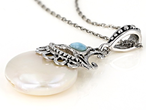 15mm Cultured Freshwater Pearl & Larimar Rhodium Over Silver Pendant With Chain
